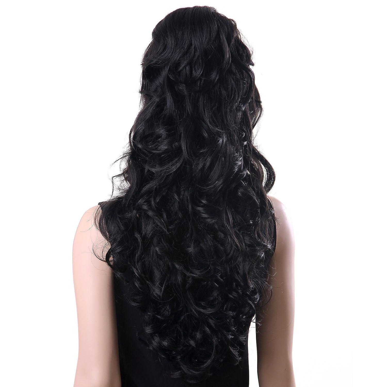 Songmics Peluca Larga Negra para Mujer Ondulada pelo Rizado Sexy 71 cm WFS371: Amazon.es: Belleza