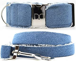 "product image for Diva-Dog 'Blue Jean Baby' 2"" Extra Wide Custom Engraved Dog Collar, Matching Leash Available"