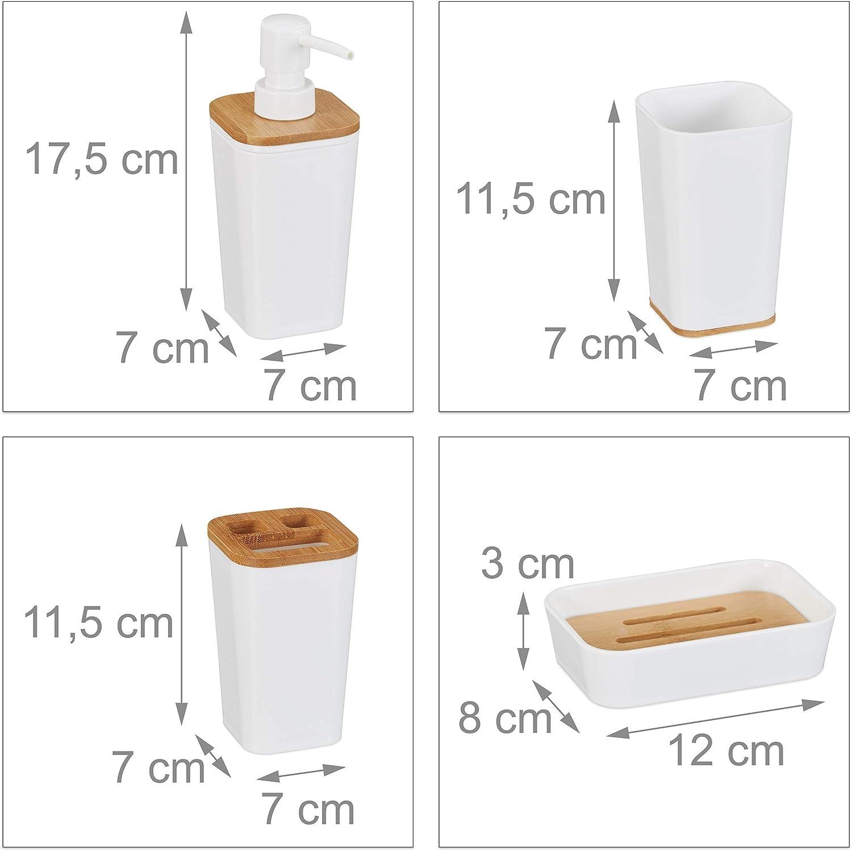 Relaxdays Set de 4 Accesorios de ba/ño Dispensador de jab/ón Pl/ástico /& Bamb/ú pl/ástico Vaso bamb/ú 17,5 x 7 x 7 cm Portacepillos Blanco Jabonera