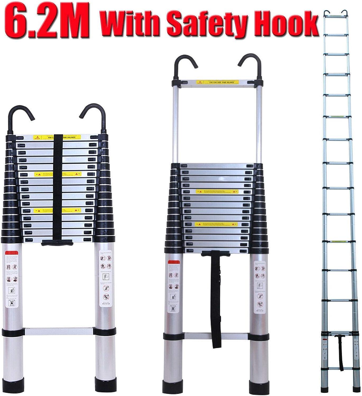Escalera telescópica de aluminio, multiusos, para interiores y exteriores, oficina, desván y ático, con gancho desmontable, 6,2 m superalto, escalera de extensión: Amazon.es: Bricolaje y herramientas