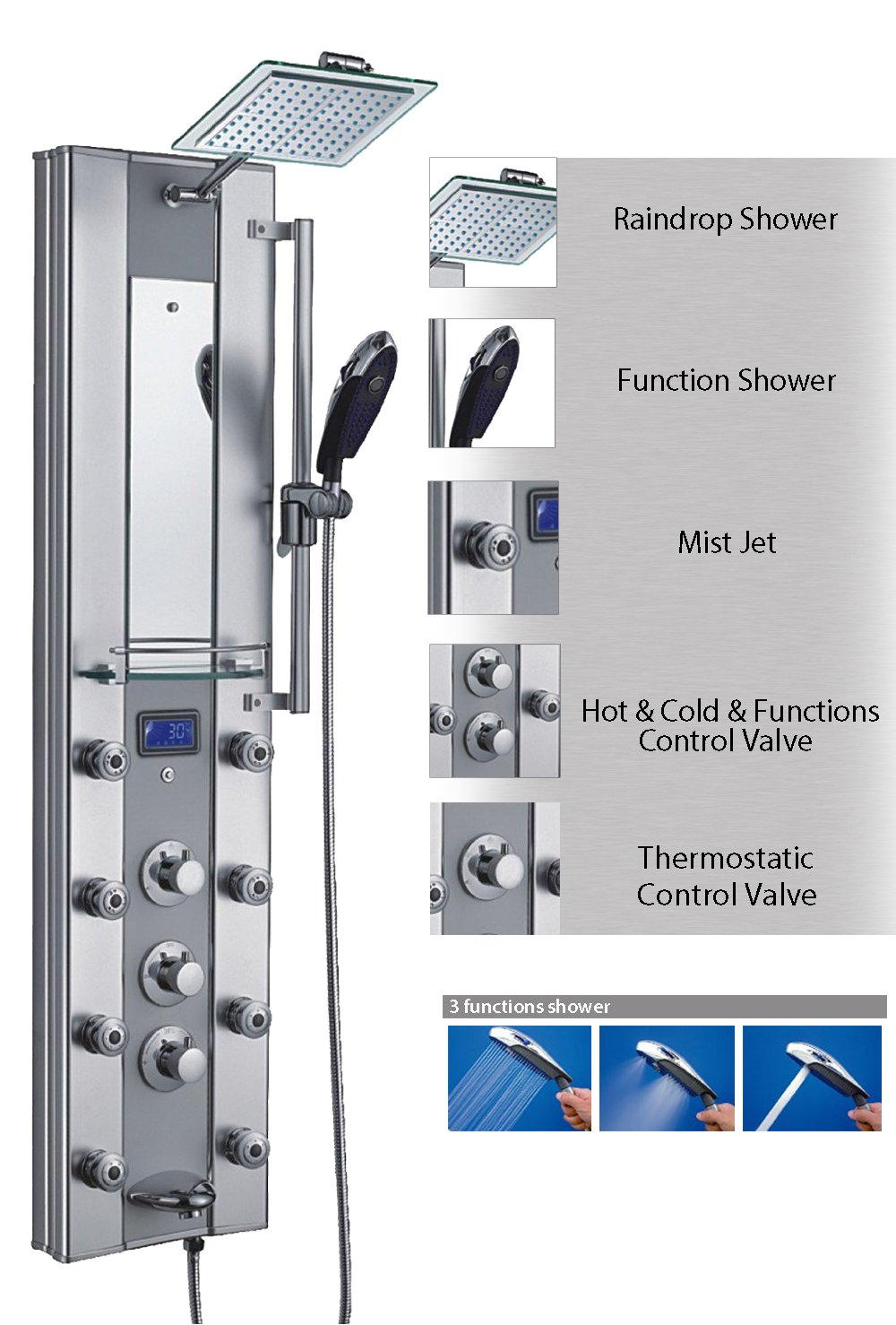 AKDY 62318 51'' Aluminum Thermostatic Shower Panel with Massage Spout Spray