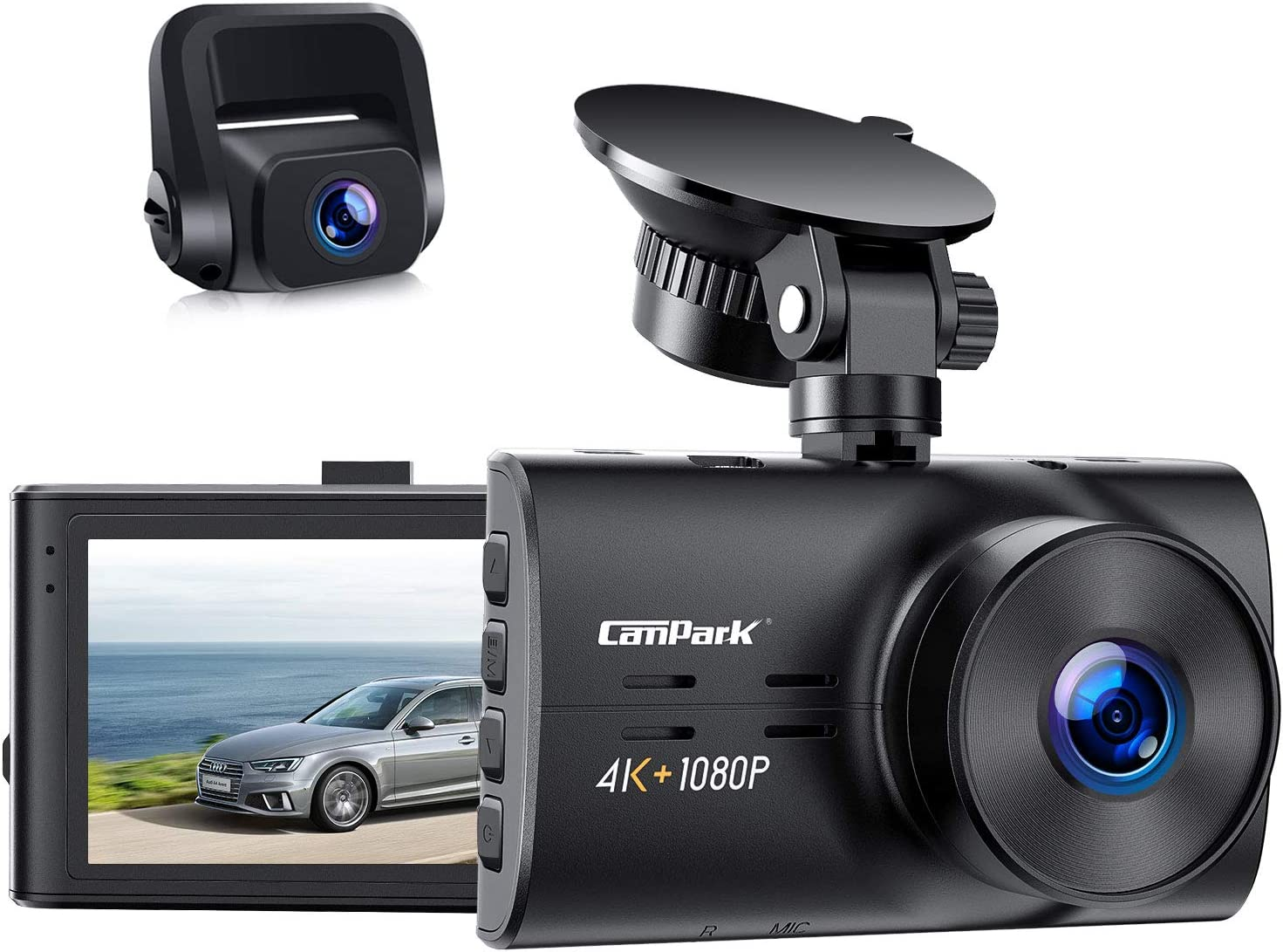 Campark Dual Dash Cam Native 4K&1080P Front and Rear Car Camera, H.265, Night Vision, Loop Recording, Parking Monitor, G-Sensor, Support 256GB