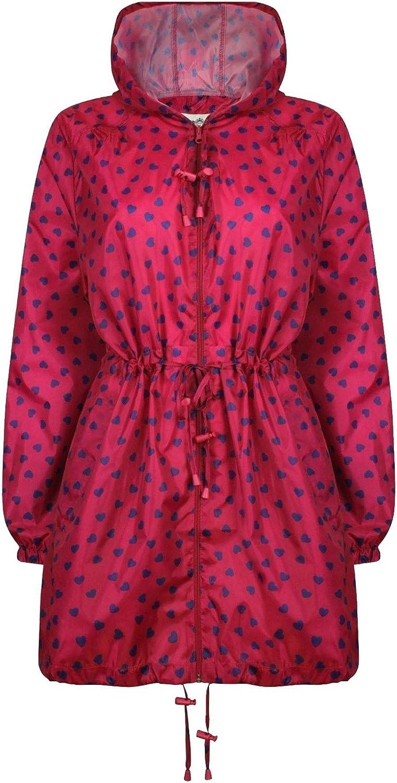 Womens Parka Printed Kagoul Waterproof Raincoat Ladies Lightweight Hooded Jacket