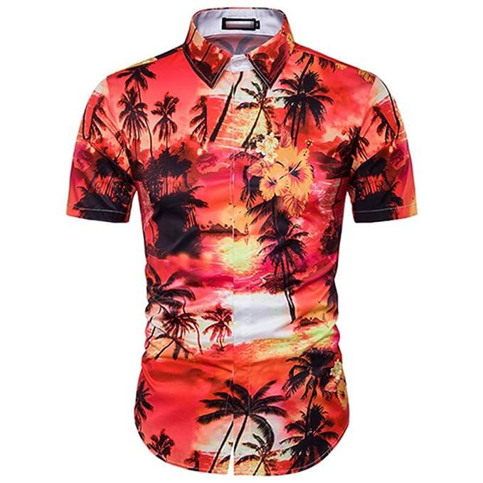 Amazon.com: UMEN Men Palm Tree Printed Short Sleeve Mens Vocation Hawaiian Shirt: Clothing