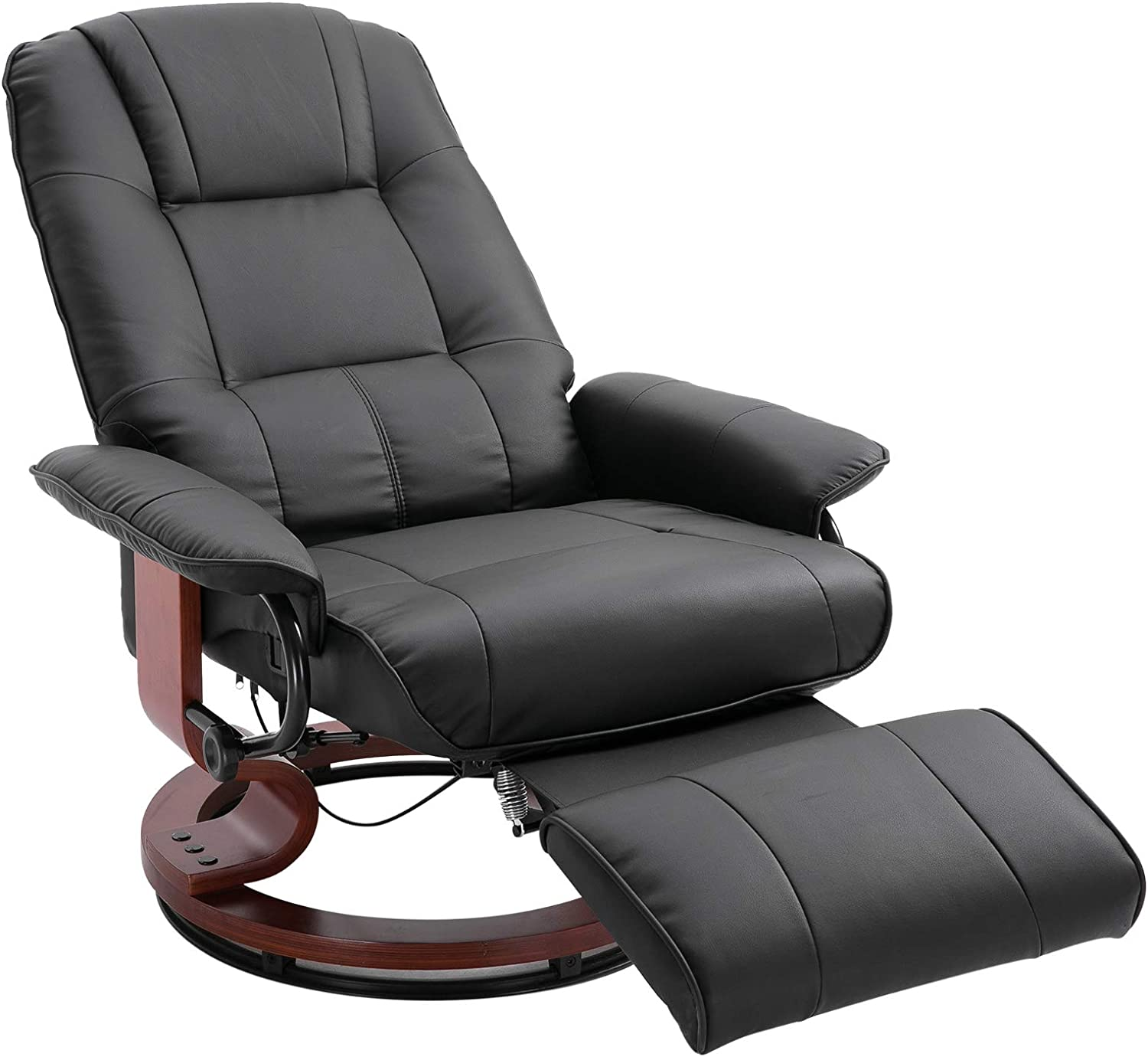 Amazon Com Homcom Faux Leather Adjustable Manual Swivel Base Recliner Chair With Comfortable And Relaxing Footrest Black Furniture Decor