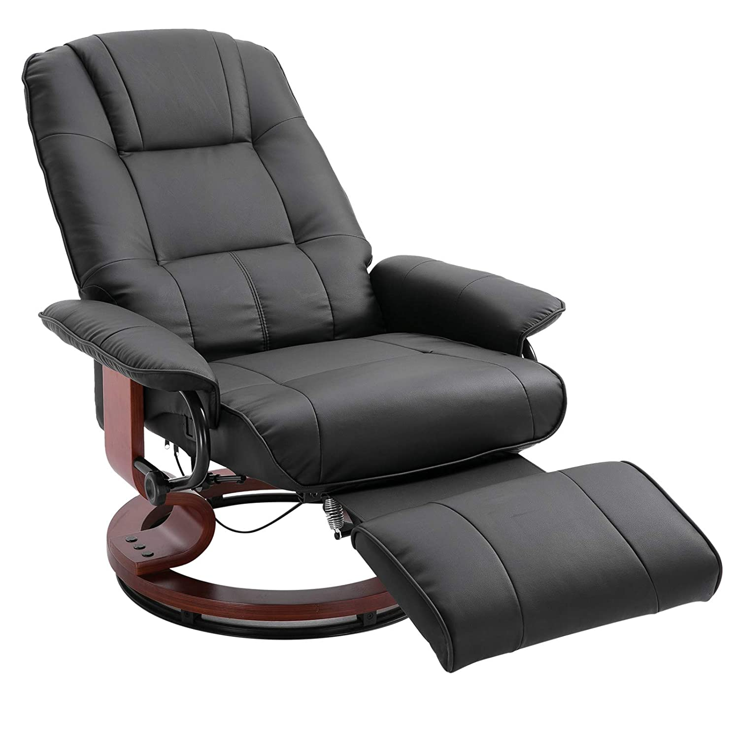 HOMCOM Wooden Recliner Chair Armchair Lounge PU Leather Ottoman Footrest Black