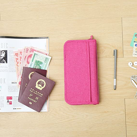 Estuche de billetera para pasaporte VORCOOL Estuche para billetera de viaje de viaje multifunci/ón Documentos de identificaci/ón de la tarjeta de cr/édito Organizador de cremallera Estuche portatel/éfono
