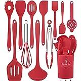Juego de 12 utensilios de cocina de silicona (apto para lavavajillas) 400 °F resistente al calor, juego de utensilios de coci