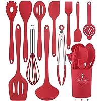 Juego de 12 utensilios de cocina de silicona (apto para lavavajillas) 400 °F resistente al calor, juego de utensilios de…