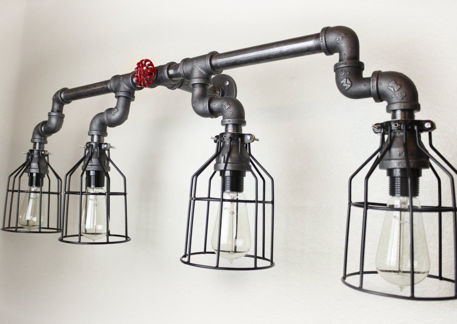 Wall sconce industrial lighting w cages black pipe bathroom