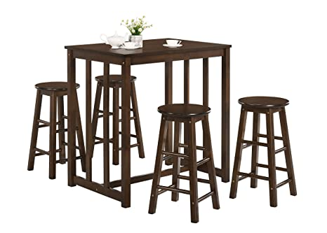 Merax 5-Piece Solid Wood Dining Table Set Kitchen High Pub Table Set with 4  Bar Stools (Espresso)