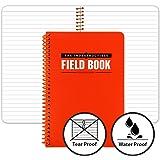 "The Indestructible Waterproof, Tearproof, Weatherproof Spiral Bound Field Notebook - 4.875""x7.25"" - Orange - Lined Memo Book"