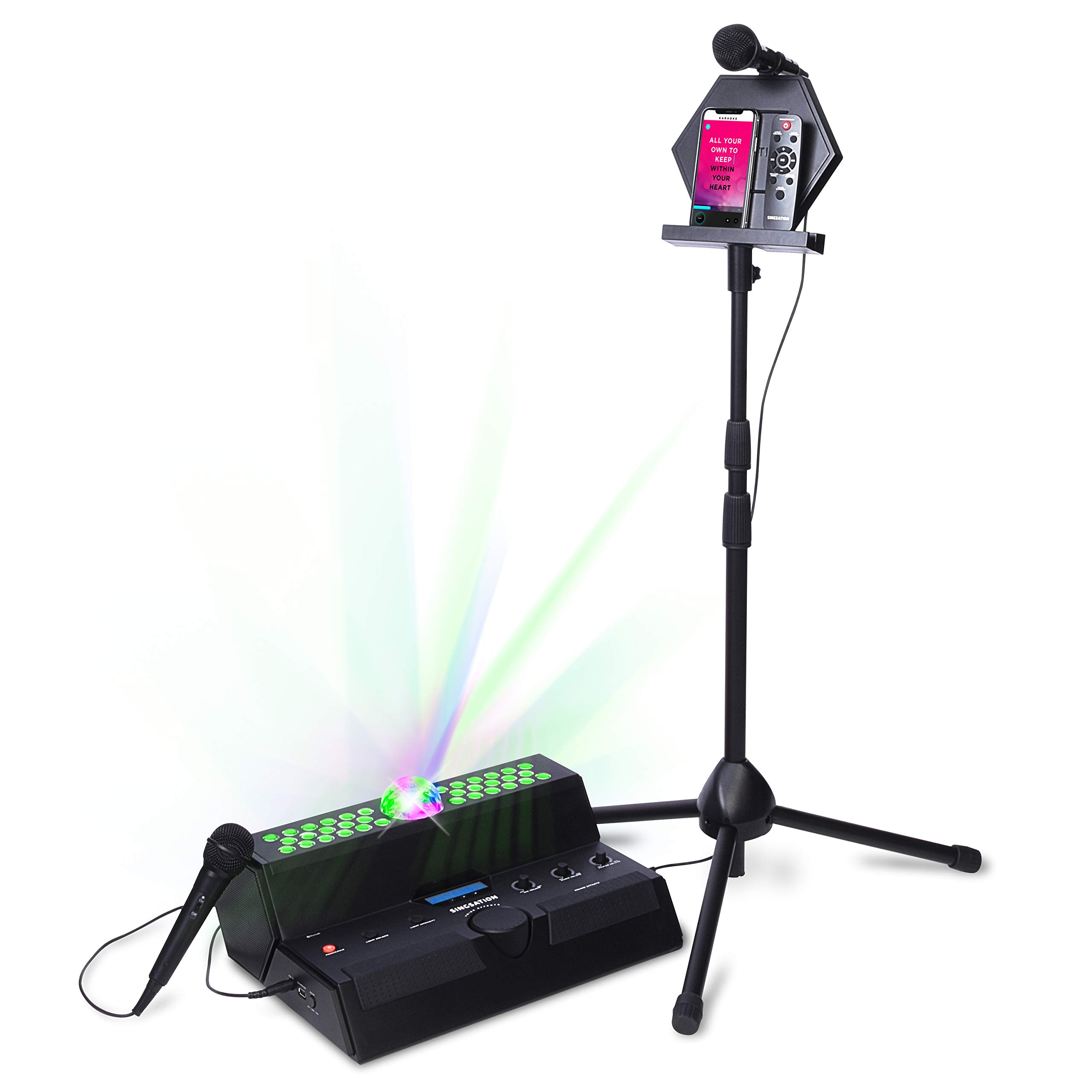Singsation Karaoke Machine - Mainstage All-In-One Premium Karaoke Party System w/Vocal, Sound and Light Effects, Two Microphones and Sound System by 808 (Image #1)