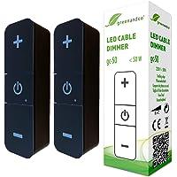 2x greenandco® gc-50 digital LED-kabel dimmer svart 1-50 watt, med tryckknappar för kontinuerlig ljusstyrning…