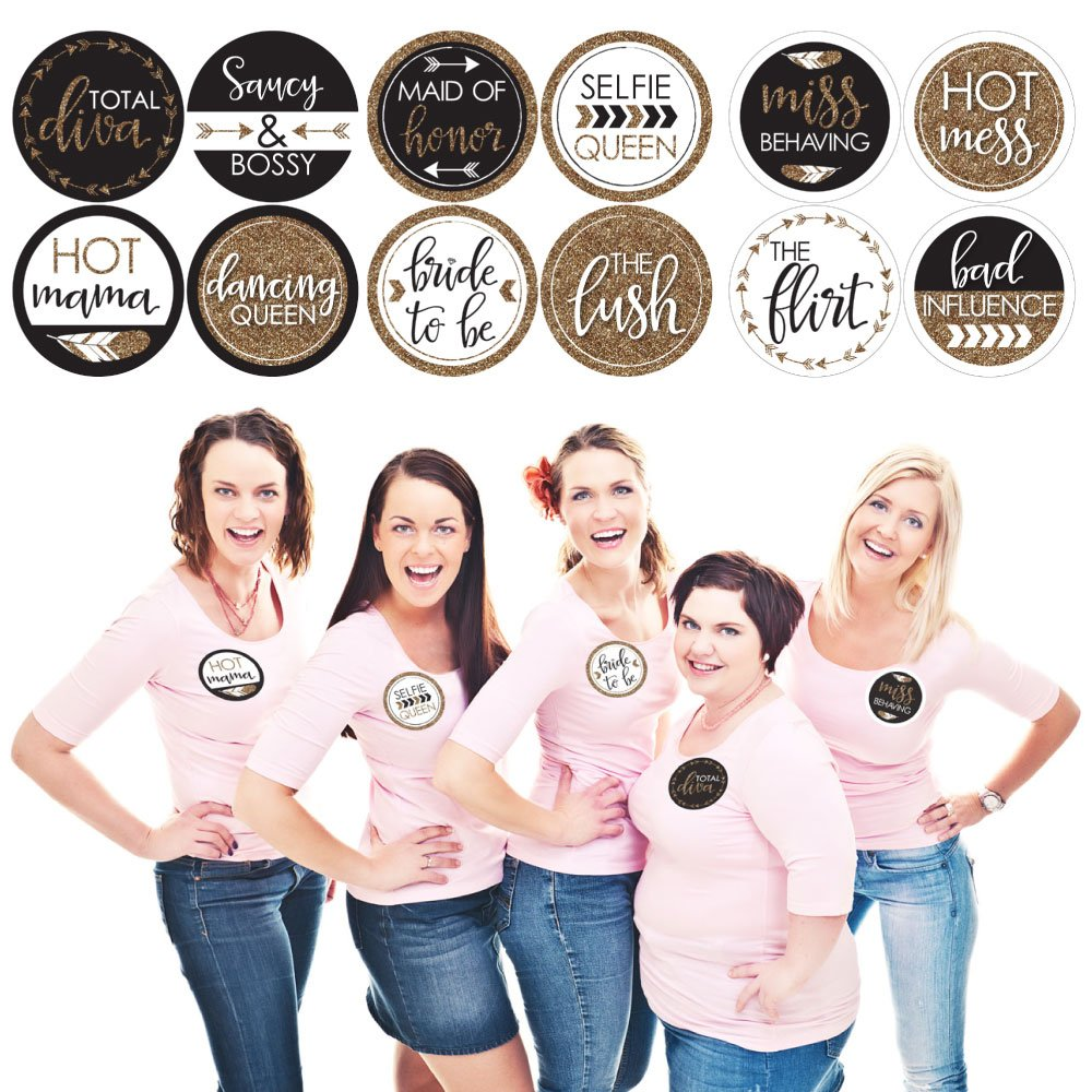 Bride Tribe - Bridal Shower & Bachelorette Party Name Tags - Party Badges Sticker Set of 12