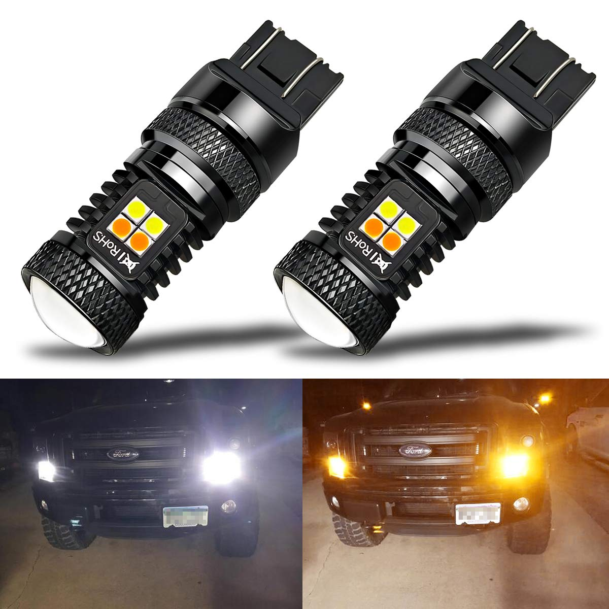 iBrightstar Extremely Bright 3030 Chipsets 7443 7444NA Switchback LED Bulbs with Projector Replacement for Daytime Running Lights/DRL and Turn Signal Lights, White/Amber