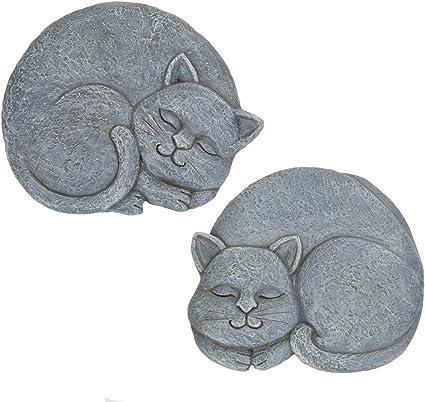 Bits And Pieces Set Of 2 Sleeping Cat Garden Stones 2 Pc Garden Décor For Lawn Patio Or Yard Durable Polyresin Garden Stones Garden Outdoor