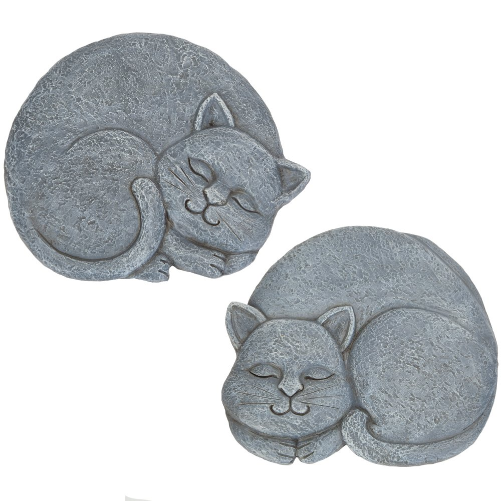 Bits and Pieces - Set of 2 Sleeping Cat Stepping Stones, 2 pc - Garden Décor for Lawn, Patio or Yard - Durable Polyresin Garden Stones