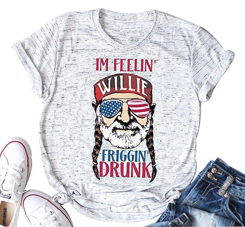 YUYUEYUE Im Feelin' Willie Friggin' Drunk T Shirt Women's American Flag Glasses Old Men Cute Tops
