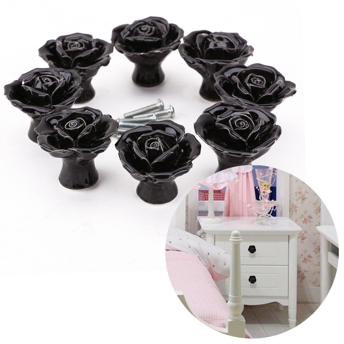 8pcs Pomo de Cerámica para Armario Mueble Tiradores Puertas Cajones Manilla de Diamante 4mm Estilo Rosa Negra Surepromise