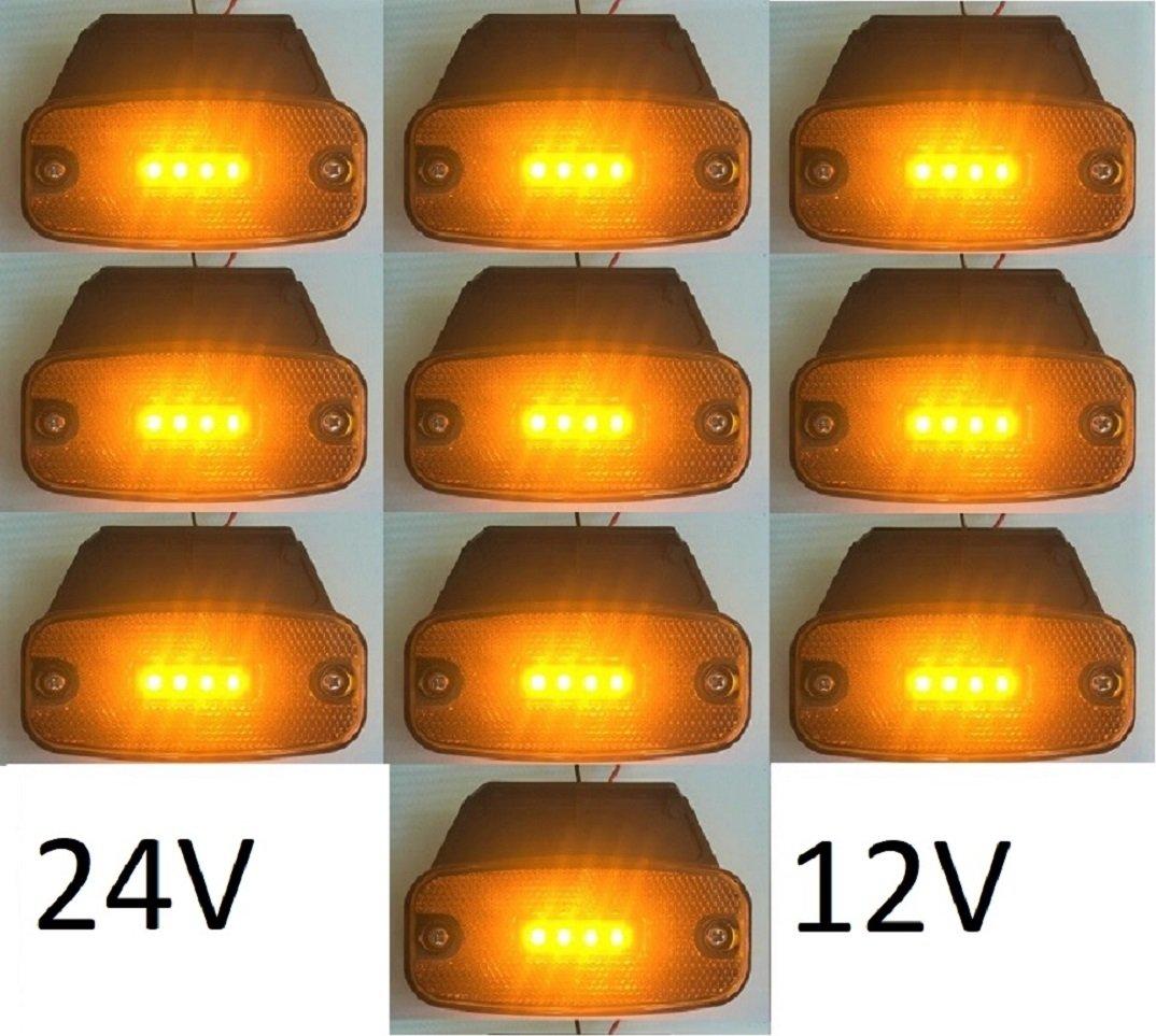 10 x 4 LED lateral contorno de posici/ón per/ímetro naranja /ámbar marcador 12//24V luces l/ámparas con soportes extra/íbles para cami/ón puntera cami/ón caravana remolque