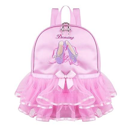 5443cdf87083 Amazon.com: FEESHOW Girls Kids Tiered Ruffled Tutu Dance Backpack ...