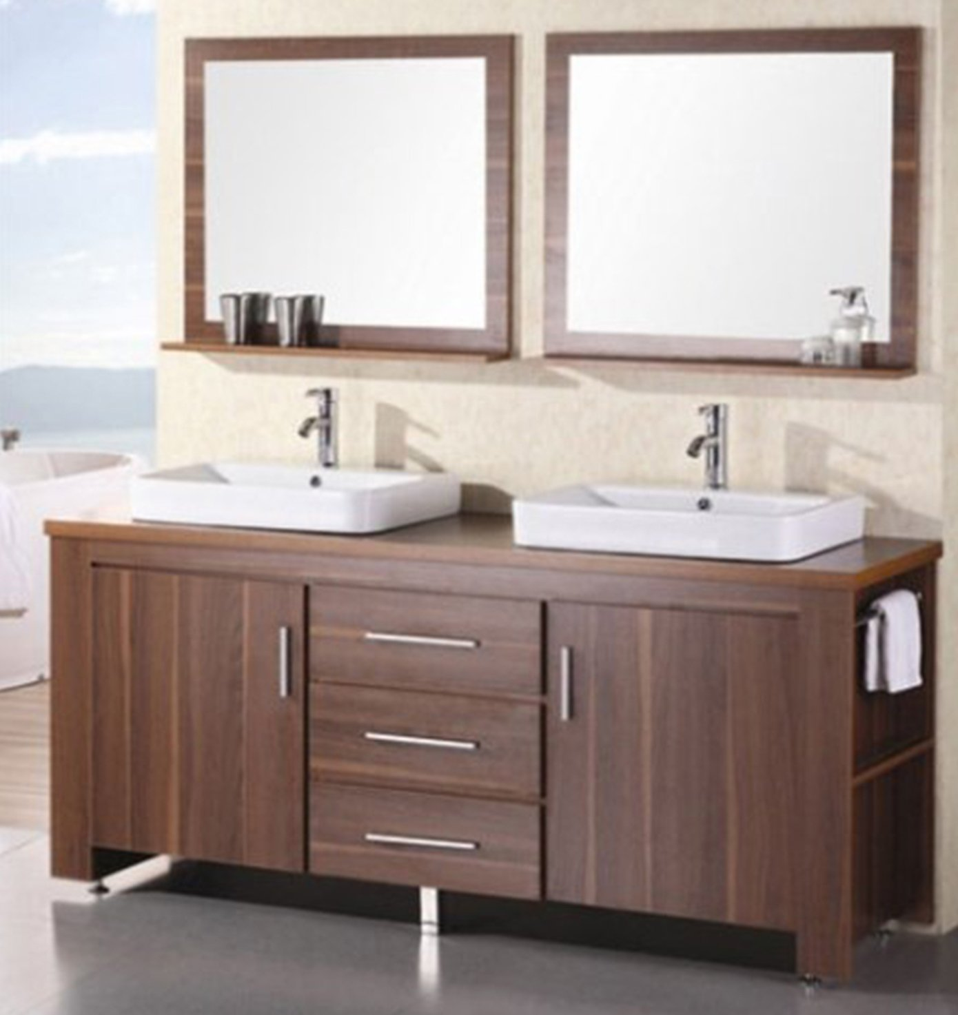 Design Element Washington Double Drop In Vessel Sink Vanity Set with Five  Drawers and Espresso Finish 96 Inch Bathroom Vanities Amazon com