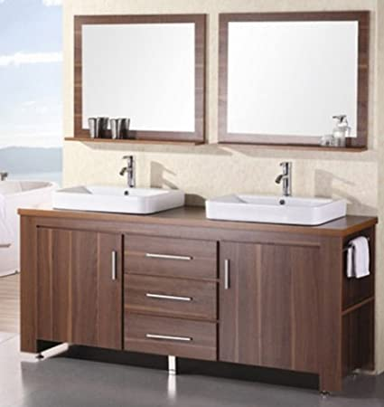 Exceptionnel Design Element Washington Double Drop In Vessel Sink Vanity Set With Three  Drawers And Toffee