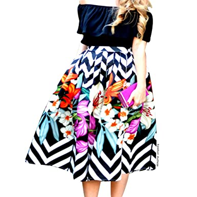1d0a9f9530 Chicwish Women's Zigzag Flower Black White Stripes Floral Printed High Waist  A-line Midi Pleated