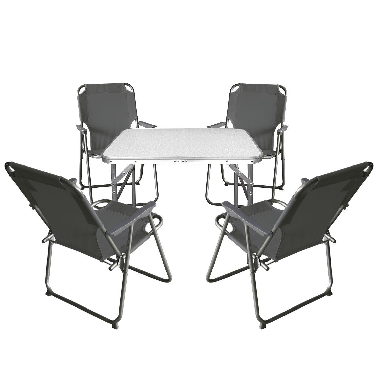 Multistore 2002 5tlg. Campingmöbel Set Klapptisch, Aluminium, 55x75cm + 4X Campingstuhl, Stone/Strandmöbel Campinggarnitur Gartenmöbel