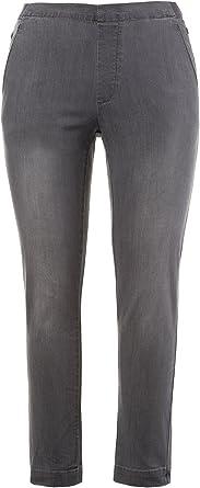 Ulla Popken Damen Overdyed Comfort Röhre Slim Jeans