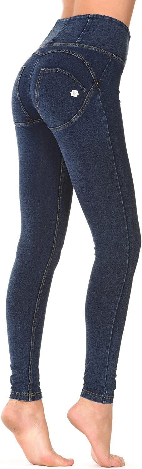 Freddy Women's Leggings jeans Scuro-Cuciture Gialle