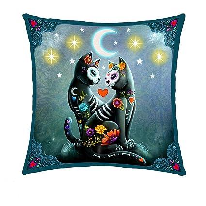 Noche estrellada – gato negro – Light Up cojín – Nemesis – negro Diseño de gato