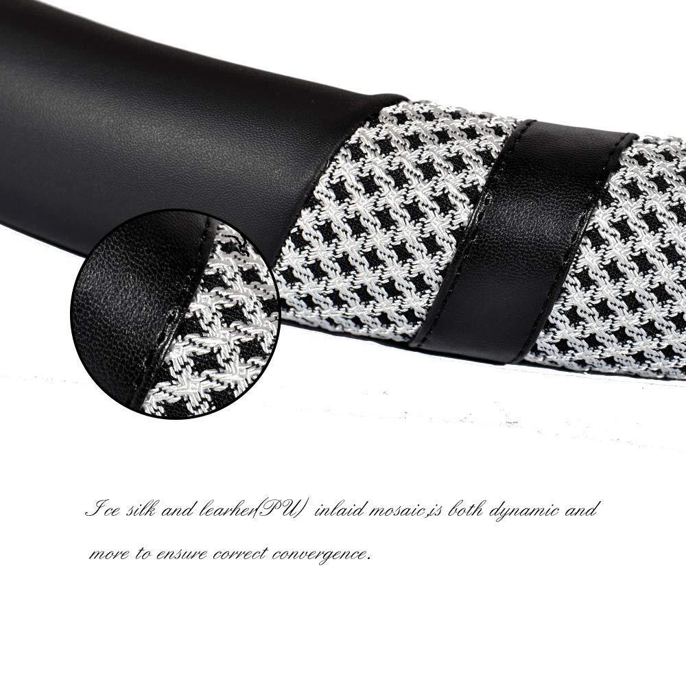 Steering Wheel Cover Summer Ice Silk Breathable Sweat Anti-Slip Odor-Free Black 16