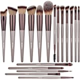BS-MALL Makeup Brushes Premium Synthetic Foundation Powder Concealers Eye Shadows Silver Black Makeup Brush Sets(18 Pcs)