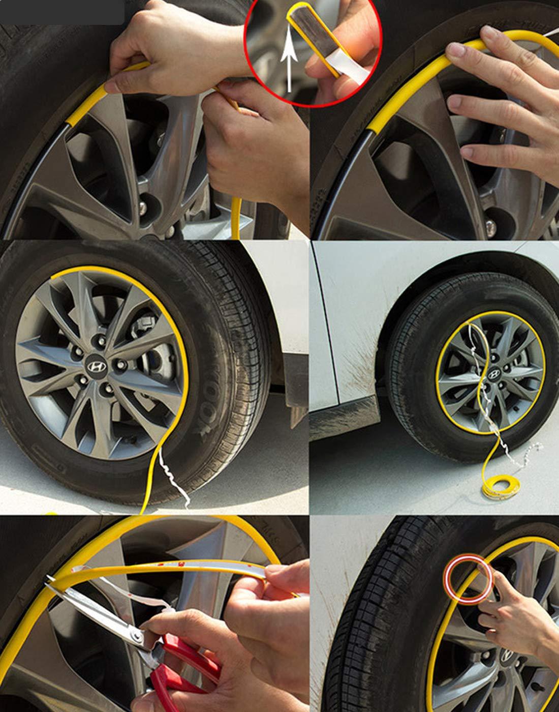 Blau 26Ft Auto LKW Felgenblende Auto Dekoration Nadelstreifen Fahrrad Motorrad Anti-Kollision TPE-Zierstreifen