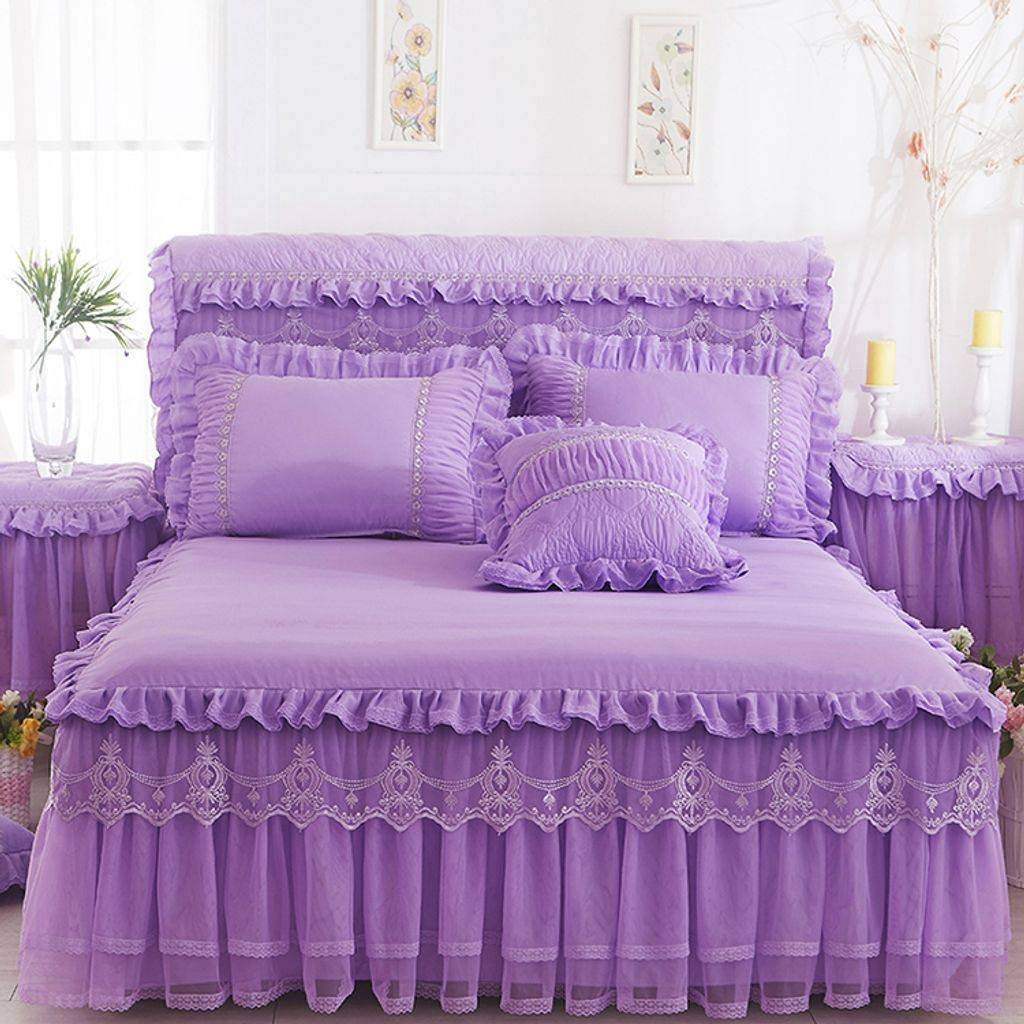 QXJR Bed Skirts,Valance Sheet Box,Bed Decoration Princess Lace Solid Color Bed Skirts Bed Cover lace Bed Covers Mattress Bedding-Light purple-200Cmx220Cm+2pillowcase by QXJR