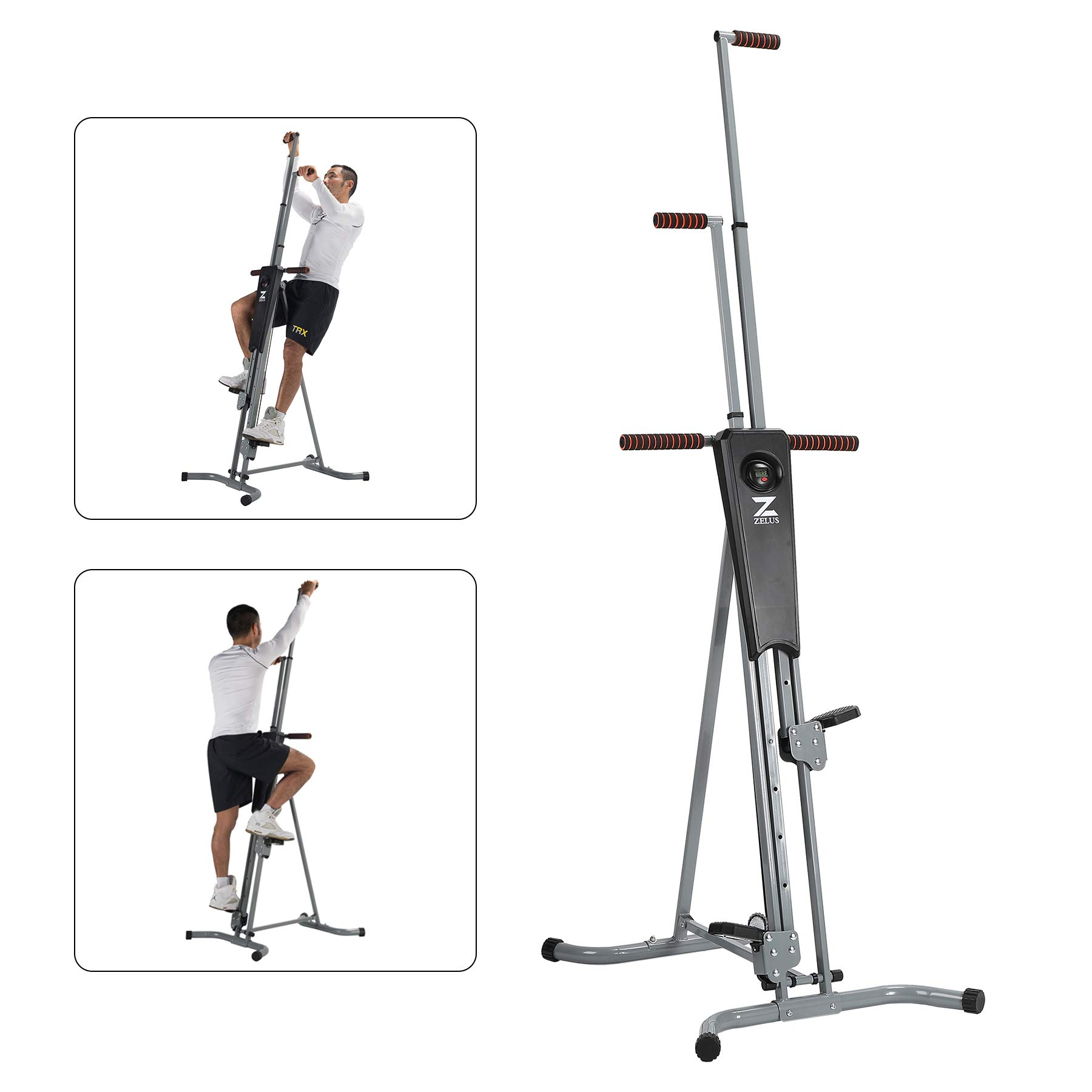 ZELUS Vertical Climber Machine Fitness Step Climber Exercise Machine Equipment with LED Display for Home Gym