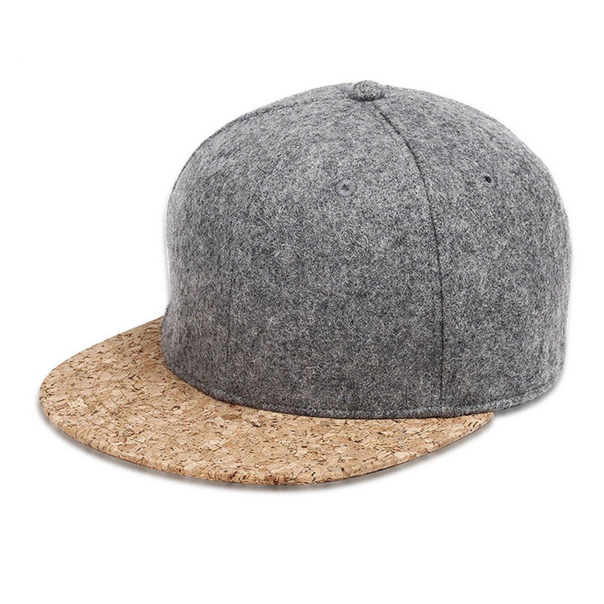 Jiele di lana berretto da baseball–-per uomini e donne regolabile visiera piatta berretto da baseball hip hop snapback b-boy, Light Grey
