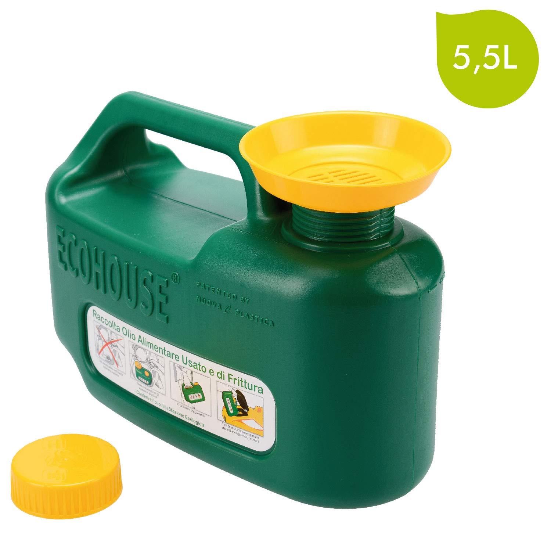 ECOHOUSE LIGHT 5.5LT Tanica verde da 5.5 litri per il recupero e il contenimento dell'olio alimentare usato e di frittura per raccolta differenziata con tappo sicurezza bimbo con imbuto e griglia filtraggio, plastica Nuova C.Plastica S.r.l.