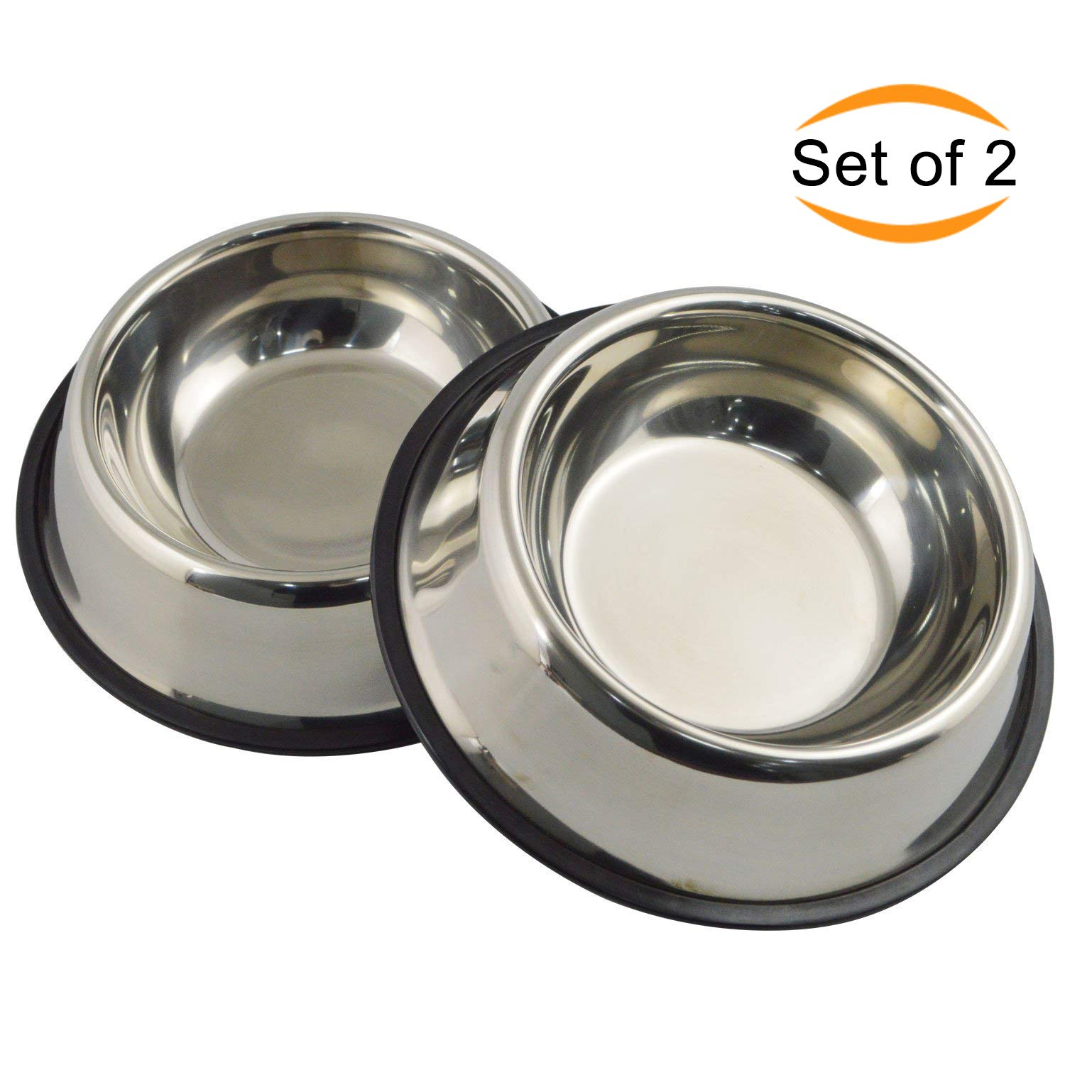 Mlife Stainless Steel Dog Bowl with Rubber Base for Small/Medium/Large Dogs, Pets Feeder Bowl and Water Bowl Perfect Choice (Set of 2) M