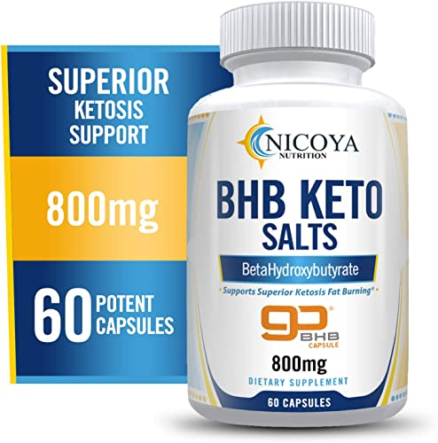 Nicoya Nutrition Keto BHB Salt Capsules – Exogenous Ketone Supplement, with Beta Hydroxybutyrate to Boost Energy Levels Mental Focus – 60 Count