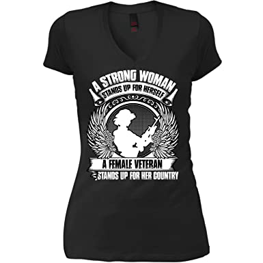 Amazoncom A Strong Woman Womens V Neck Tee Stands Up For Herself