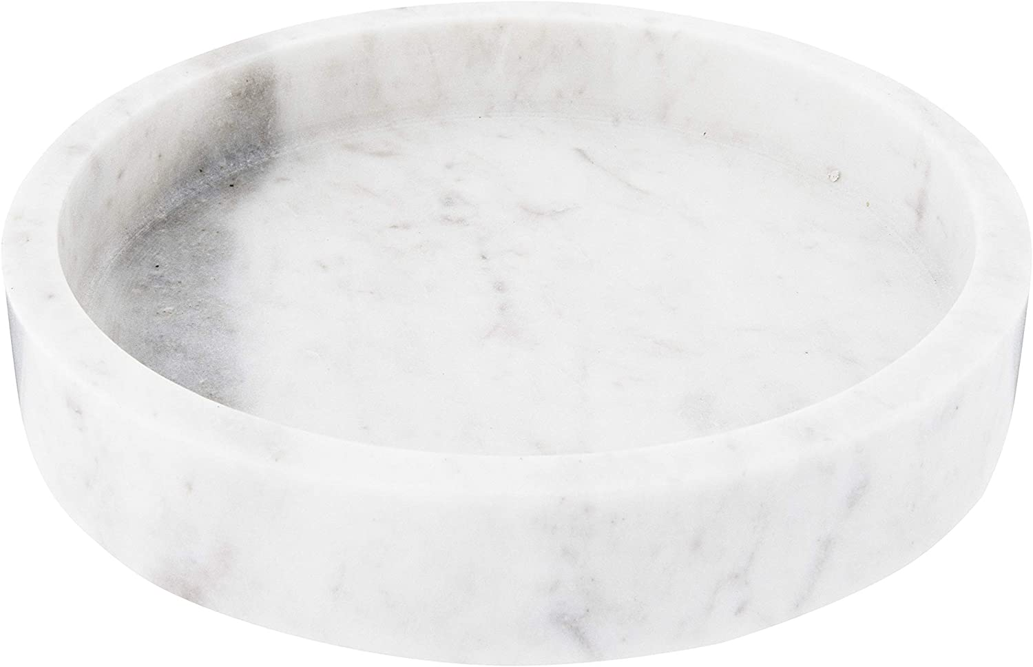 "Creative Co-Op DF2369 8"" Round Carved Marble Tray, White"
