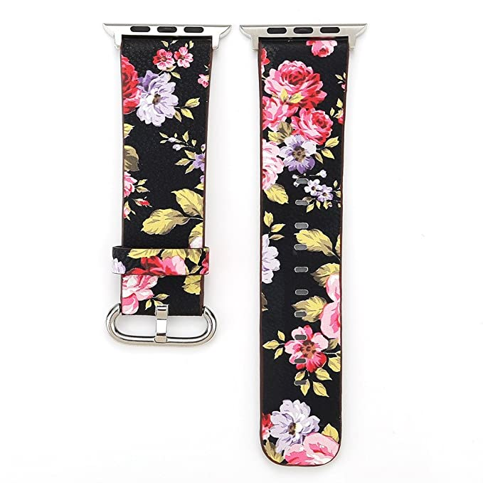 Amazon.com: Small Floral Leather Strap Replacement Watch Band for Apple Watch 42mm: Clothing