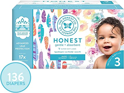 The Honest Company Super Club Box Diapers with TrueAbsorb Technology 136 Count Size 3 Rose Blossom /& Painted Feathers