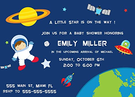 30 invitations boy astronaut space baby shower personalized cards photo paper