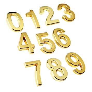 10pcsSet Small Gloden Modern House number modern Mailbox numbers