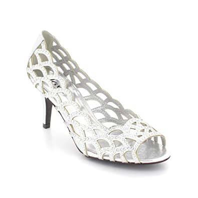 7dfd058d7 Image Unavailable. Image not available for. Colour  Aarz Women Ladies  Evening Wedding Party High Heel Peep Toe Diamante ...