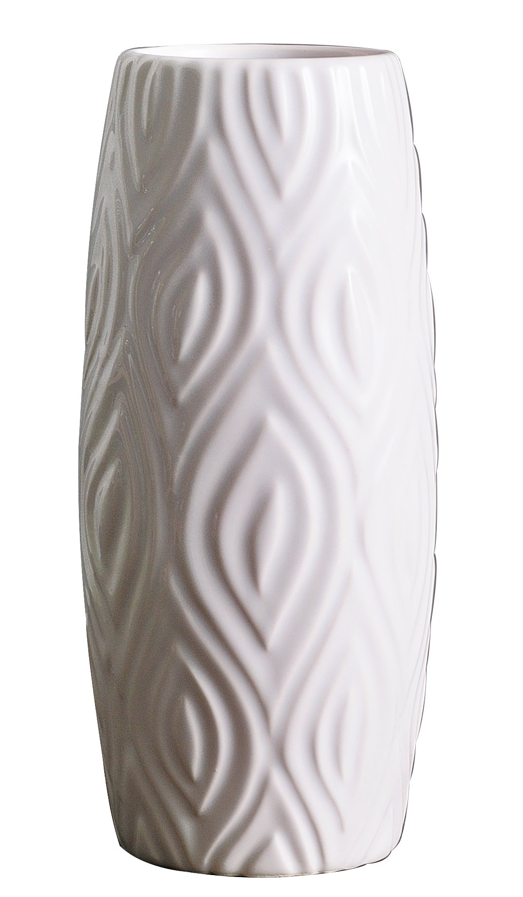 Jusalpha 8.7'' High White Ceramic Vase. Ideal Gift for Weddings, Party, Home Decor, Spa #02